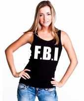 Feest fbi tekst singlet-shirt tanktop zwart dames