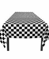 Feest finish tafelkleed zwart wit geblokt 130 x 180 cm