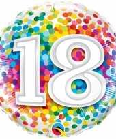 Feest folie ballon 18 jaar confettiprint 45 cm met helium gevuld