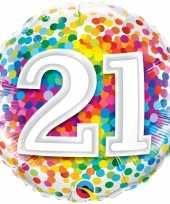Feest folie ballon 21 jaar confettiprint 45 cm met helium gevuld