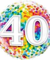 Feest folie ballon 40 jaar confettiprint 45 cm met helium gevuld