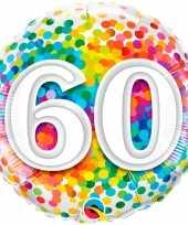Feest folie ballon 60 jaar confettiprint 45 cm met helium gevuld