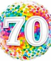 Feest folie ballon 70 jaar confettiprint 45 cm met helium gevuld