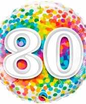 Feest folie ballon 80 jaar confettiprint 45 cm met helium gevuld