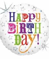 Feest folie ballon gefeliciteerd happy birthday 46 cm met helium gevuld