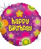 Feest folie ballon gefeliciteerd happy birthday bloemen 46 cm met helium gevuld