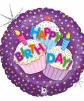 Feest folie ballon gefeliciteerd happy birthday cup cakes 46 cm met helium gevuld