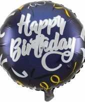 Feest folie ballon gefeliciteerd happy birthday donkerblauw 45 cm met helium gevuld