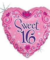 Feest folie ballon gefeliciteerd happy birthday sweet 16 16e verjaardag 46 cm met helium gevuld