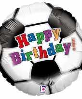 Feest folie ballon gefeliciteerd happy birthday voetbal 46 cm met helium gevuld