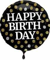 Feest folie ballon gefeliciteerd happy birthday zwart met stippen 45 cm met helium gevuld