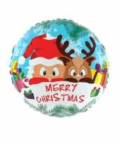 Feest folie ballon kerst merry christmas 46 cm met helium gevuld