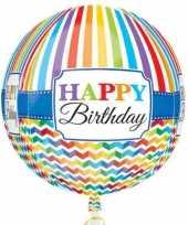 Feest folie ballon orbz rond gefeliciteerd happy birthday 40 cm met helium gevuld