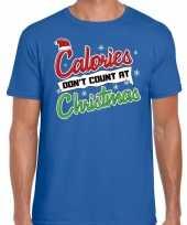 Feest fout kerst shirt christmas calories blauw voor heren