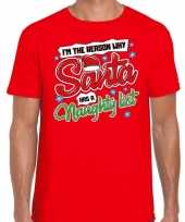Feest fout kerst shirt why santa has a naughty list rood voor heren