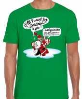 Feest fout kerst shirt zingende kerstman met gitaar groen voor heren