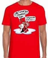 Feest fout kerst shirt zingende kerstman met gitaar rood voor heren