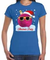Feest fout t-shirt christmas party blauw voor dames