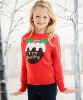 Feest foute kerst print trui rood voor kinderen