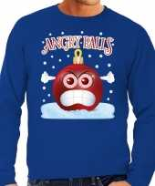 Feest foute kerst sweater trui angry balls blauw heren