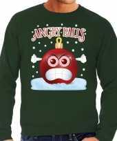 Feest foute kerst sweater trui angry balls groen heren