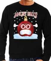 Feest foute kerst sweater trui angry balls zwart heren