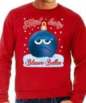 Feest foute kerst sweater trui blauwe ballen rood voor heren