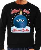 Feest foute kerst sweater trui blauwe ballen zwart voor heren