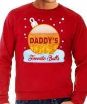 Feest foute kerst sweater trui daddy favorite balls bier rood heren