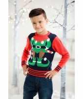 Feest foute kerst trui rood blauw voor kinderen