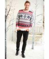 Feest foute kerstprint trui rood wit en blauw