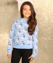 Feest foute sneeuwpop print trui voor meisjes