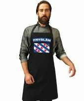 Feest friesland vlag barbecueschort keukenschort zwart volwassenen