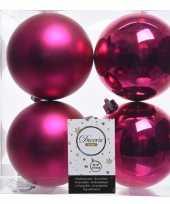 Feest fuchsia roze kerstversiering kerstballen 8x kunststof 10 cm