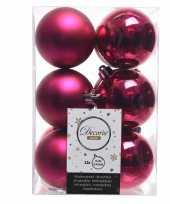 Feest fuchsia roze kerstversiering kerstballen kunststof 6 cm