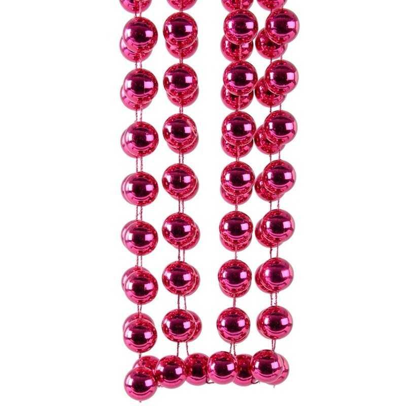 Feest fuchsia roze kerstversiering kralenketting 270 cm