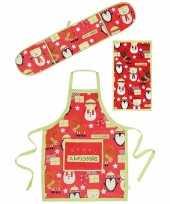 Feest funny keukentextiel set 3 delig rood groen