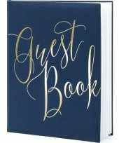 Feest gastenboek navy blauw goud 20 x 25 cm