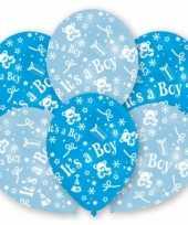 Feest geboorte jongen ballonnen 6 stuks