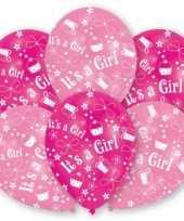 Feest geboorte meisje ballonnen 6 stuks