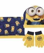 Feest geel blauwe minions winterset voor jongens