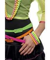 Feest gekleurde armbanden neon kleur 3x