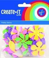Feest gekleurde foam rubber bloemen 70 st
