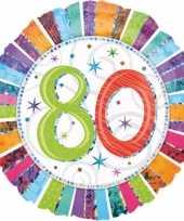 Feest gekleurde folie ballon 80 jaar