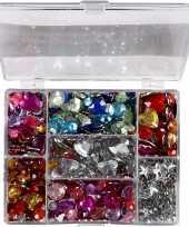 Feest gekleurde strass stenen in display box