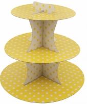 Feest gele etagere 3 laags met witte stippen 30 cm