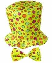 Feest gele hoge hoed met stippen