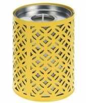 Feest gele kaarshouder met 3 citronella waxinelichtjes