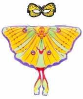 Feest gele komeetstaart vlinder verkleedset voor meisjes