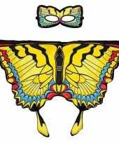 Feest gele zwaluwstaart vlinder verkleedset voor meisjes